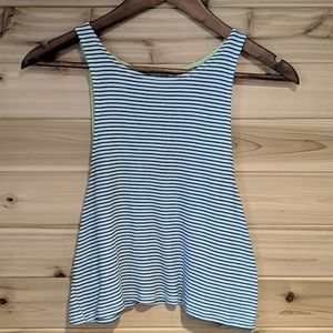 American Eagle Black and White Cropped Tank Large